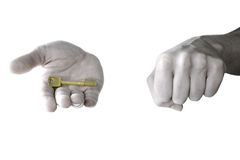 The right choice. Two hands with one open revealing the result of a correct choice royalty free stock images