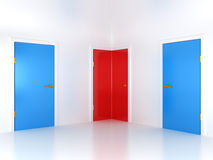 Right choice: conceptual corner door Stock Photo