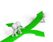 The right choice. The man is pointing the right direction. 3D image. White background Royalty Free Stock Image