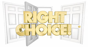 Right Choice Many Doors Choose Wisely Words Royalty Free Stock Photo
