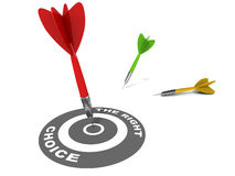 The right choice. Target circle labeled the right choice on white background with a single dart hitting bulls eye and other missing the right choice vector illustration