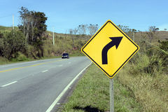 Right curve road sign Stock Image