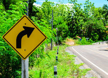 Right Curve Traffic Sign. The Right Curve Traffic Sign Royalty Free Stock Photos