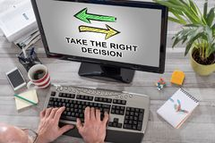 Right decision concept on a computer. Man using a computer with right decision concept on the screen Royalty Free Stock Images