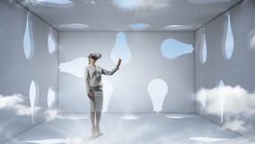 Right decision making and virtual reality. Mixed media royalty free stock image