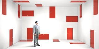 Right decision making and virtual reality. Mixed media royalty free stock photos