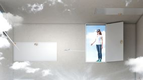 Right decision making and virtual reality. Mixed media stock photography
