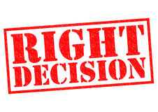 RIGHT DECISION. Red Rubber Stamp over a white background Stock Image