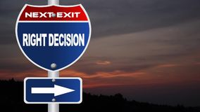 Right decision road sign with flowing clouds stock video footage