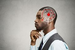 Right decision wisdom strategy concept. Man solving problem thinking Stock Photo
