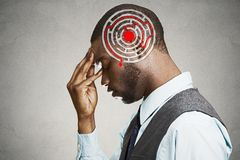 Right decision wisdom strategy concept. Man solving problem thinking Royalty Free Stock Images