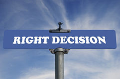 Right decison road sign Stock Photos