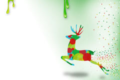 right deer jumping xmas new year  season  abstract background Stock Image