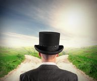The right destination. Concept with businessman at crossroad Royalty Free Stock Photos