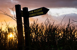 Right Direction Sign. Right Direction sunset sign particularly well suited to retirement planning and senior citizens, but also useful for any other guidance stock image