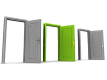 Right door. Doors open on white background, with a green door of opportunity in middle, concept of exercising the right option Royalty Free Stock Images
