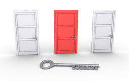 Right door for success. Three closed doors but one is of different color and a key of success Stock Photography