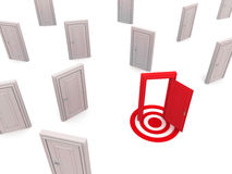 The right door way. Door way on target, right way or the chosen way to success or path stock illustration