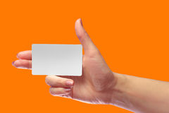 Right Female Hand Hold Blank White Card Mock-up. SIM Cellular. Right Female Hand Hold Blank White Card Mockup. Prepaid Plastic Transponder NFC Smart Tag Id EPC Stock Image