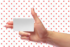 Right Female Hand Hold Blank White Card Mock-up. SIM Cellular Pl. Right Female Hand Hold Blank White Card Mockup. Prepaid SIM Cellular Plastic Transponder NFC Stock Image