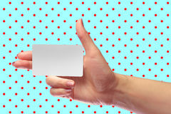 Right Female Hand Hold Blank White Card Mock-up. SIM Christmas Gift. Loyalty Shop Card. Plastic Transport Ticket. Transponder NFC. Right Female Hand Hold Blank Royalty Free Stock Photography