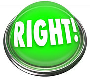 Right Green Button Light Flashing Correct Answer Stock Photo