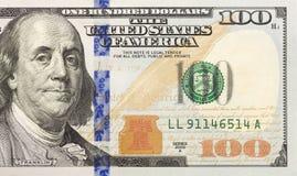 Right Half of the New One Hundred Dollar Bill. Front Right Half of the Newly Designed U.S. Currency One Hundred Dollar Bill Stock Photography