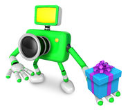 The Right hand a gift box in Green camera Character, The left ha Stock Photos