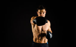 Right hand jab-front view Stock Photos