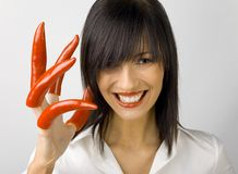 Right-Hand-Pepper Woman Stock Photos