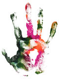 Right hand print of gouache. Close-up colorful gouache imprint wrist. Gouache hand print paint royalty free stock image
