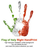 Right hand print in italy flag color isolated on white background. Symbol of Italy and national Italian holidays Royalty Free Stock Photo
