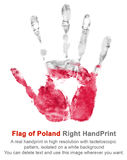 Right hand print in poland flag colors, isolated background Royalty Free Stock Photography