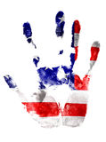 Right hand print in USA flag colors on white isolated background. Stock Images