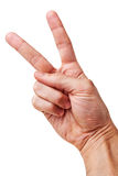 Right hand Victory sign. Royalty Free Stock Images