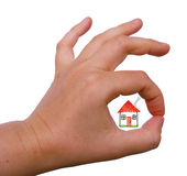 The right house !. Hand gesture OK with a colored house inside Stock Photos