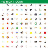 100 right icons set, cartoon style. 100 right icons set in cartoon style for any design vector illustration Royalty Free Stock Photo