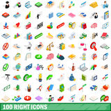 100 right icons set, isometric 3d style. 100 right icons set in isometric 3d style for any design vector illustration Stock Image
