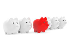 Right investment concept.  Piggy Bank in row. On a white background Royalty Free Stock Photo