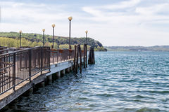 Right jetty's view of the Bracciano lake Stock Images