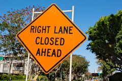 Right Lane Closed Ahead Royalty Free Stock Photography