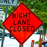 Right Lane Closed Sign Royalty Free Stock Images