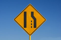 Right Lane Ends Sign Royalty Free Stock Photography