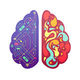 Right Left Brain Symbolic Colorful Image. Left and right human brain cerebral hemispheres pictorial symbolic colorful figure with flowchart and activity zones stock illustration