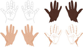 Right and left hands with lines of life, health, success, career Royalty Free Stock Photo