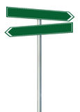 Right left road route direction pointer this way name sign, green isolated roadside signage, white traffic arrow frame roadsign Stock Images