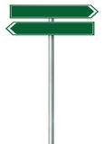 Right left road route direction pointer this way sign, green green isolated roadside signage, white traffic arrow frame roadsign Stock Images