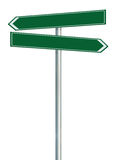 Right and left road route direction pointer this way sign, green isolated roadside signage, white traffic arrow frame roadsign Royalty Free Stock Photography