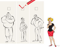 Right man. Vector cartoon of a lady choosing a right man Royalty Free Stock Photos