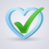 Right mark in blue heart Stock Image